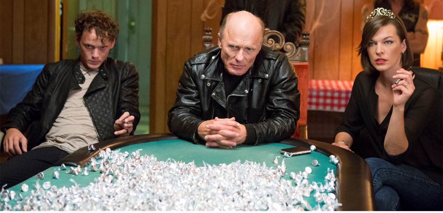 Milla Jovovich, Ed Harris, and Anton Yelchin in Cymbeline (2014)