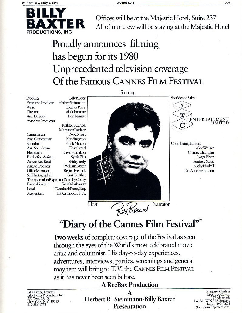 Billy Baxter Presents Diary of the Cannes Film Festival with Rex Reed (1980)