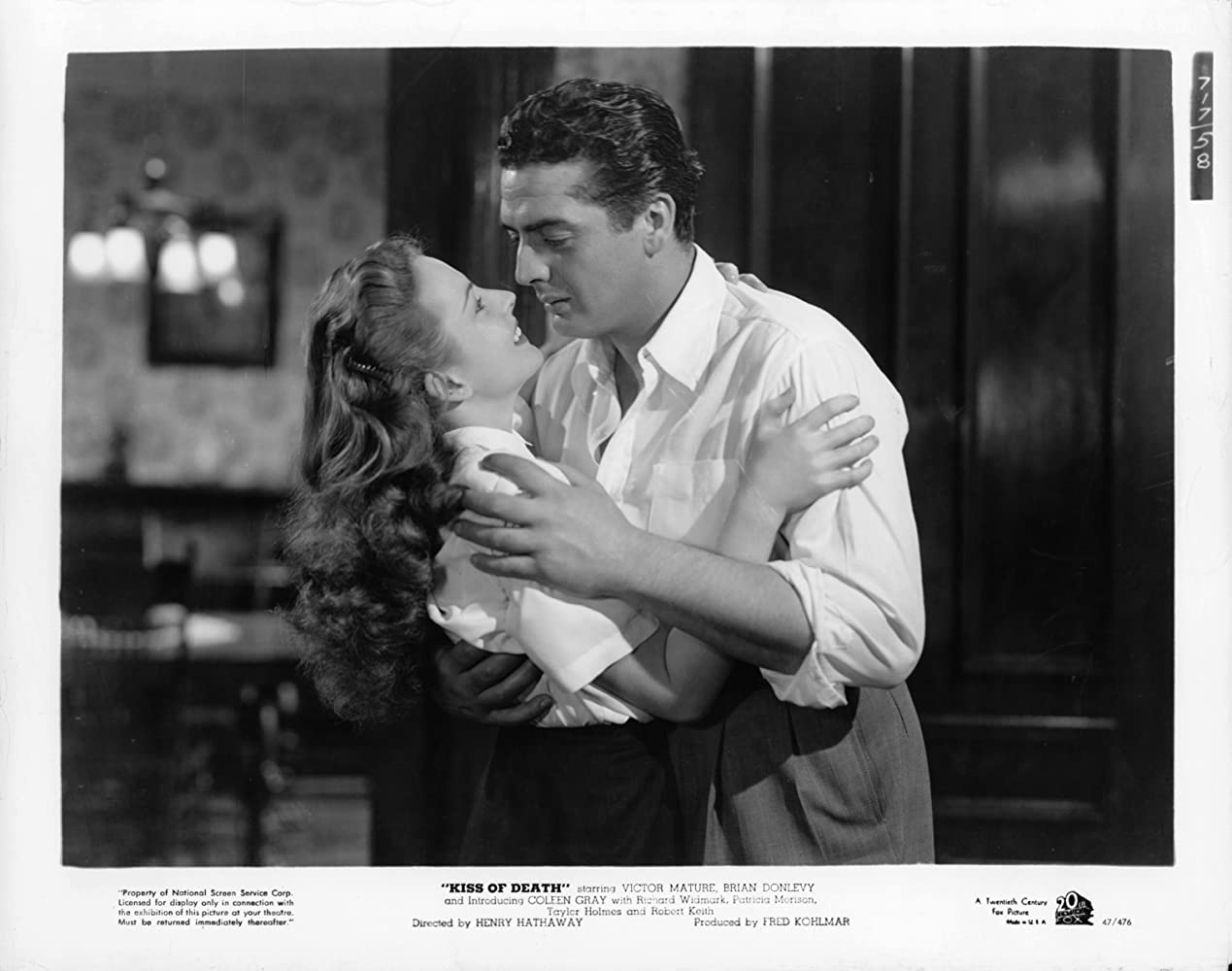 Victor Mature and Coleen Gray in Kiss of Death (1947)
