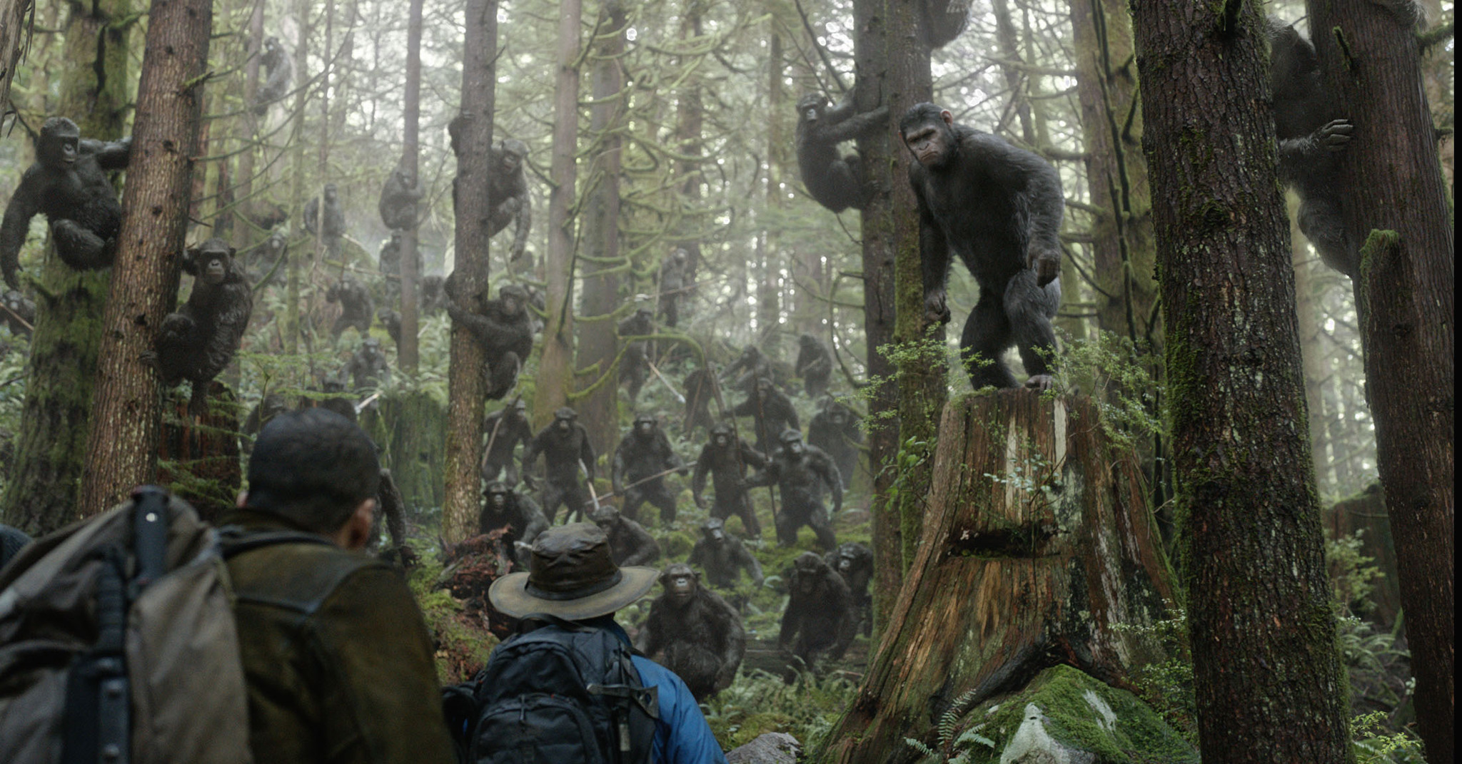 Enrique Murciano, Jason Clarke, and Andy Serkis in Dawn of the Planet of the Apes (2014)