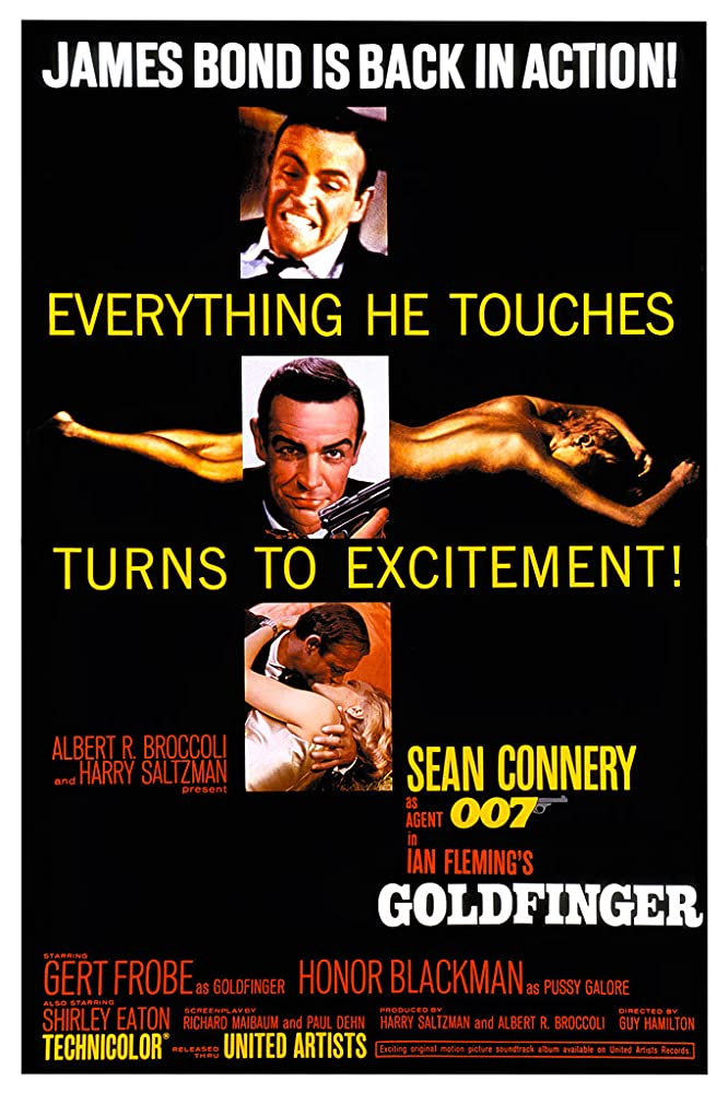 Sean Connery, Honor Blackman, and Shirley Eaton in Goldfinger (1964)