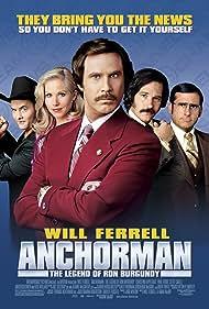 Christina Applegate, Will Ferrell, Steve Carell, David Koechner, and Paul Rudd in Anchorman: The Legend of Ron Burgundy (2004)