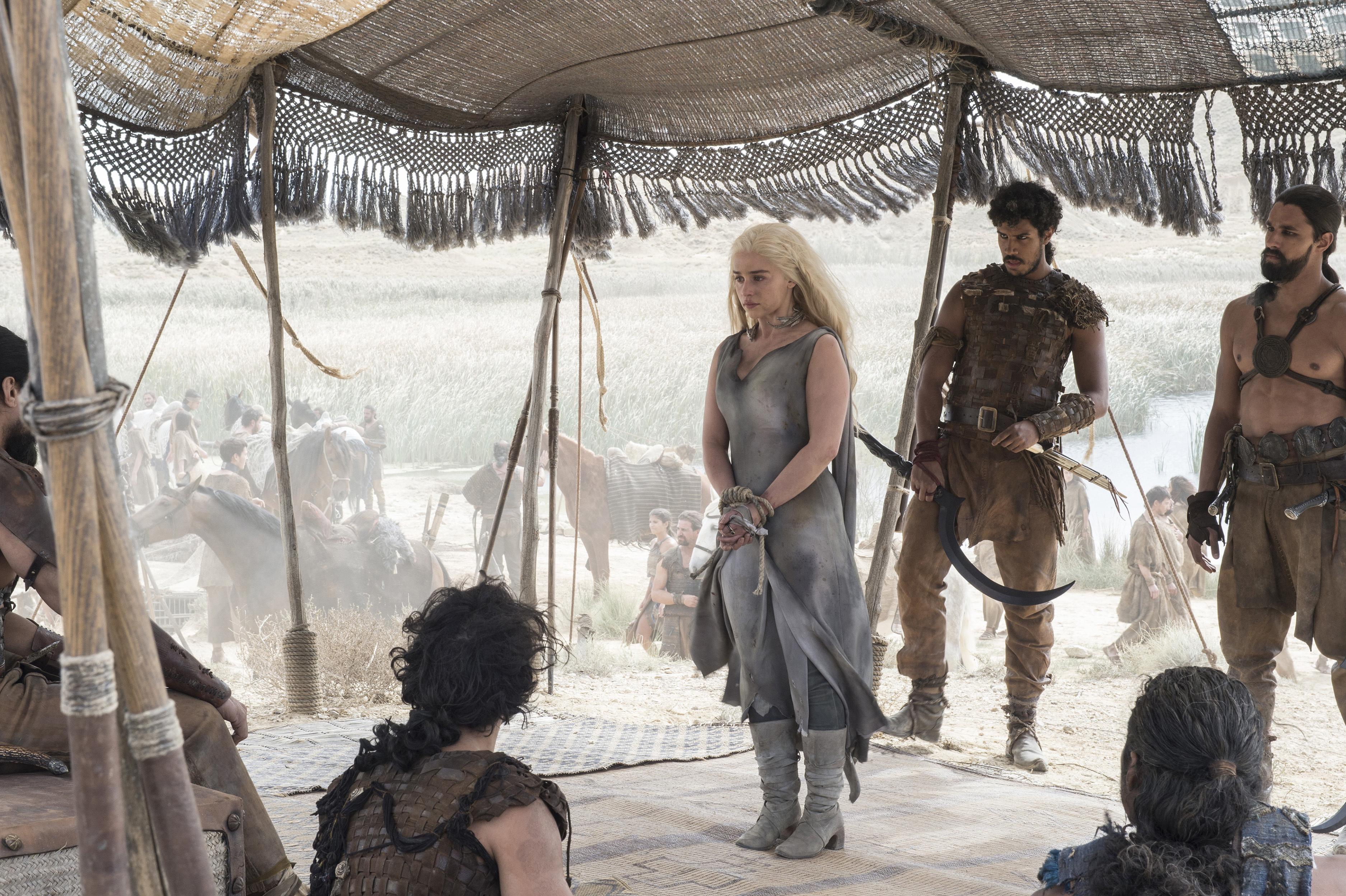 Joseph Naufahu, Junade Khan, Emilia Clarke, Diogo Sales, Chuku Modu, and Staz Nair in Game of Thrones (2011)