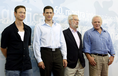 Anthony Hopkins, Gary Sinise, Robert Benton, and Wentworth Miller at an event for The Human Stain (2003)