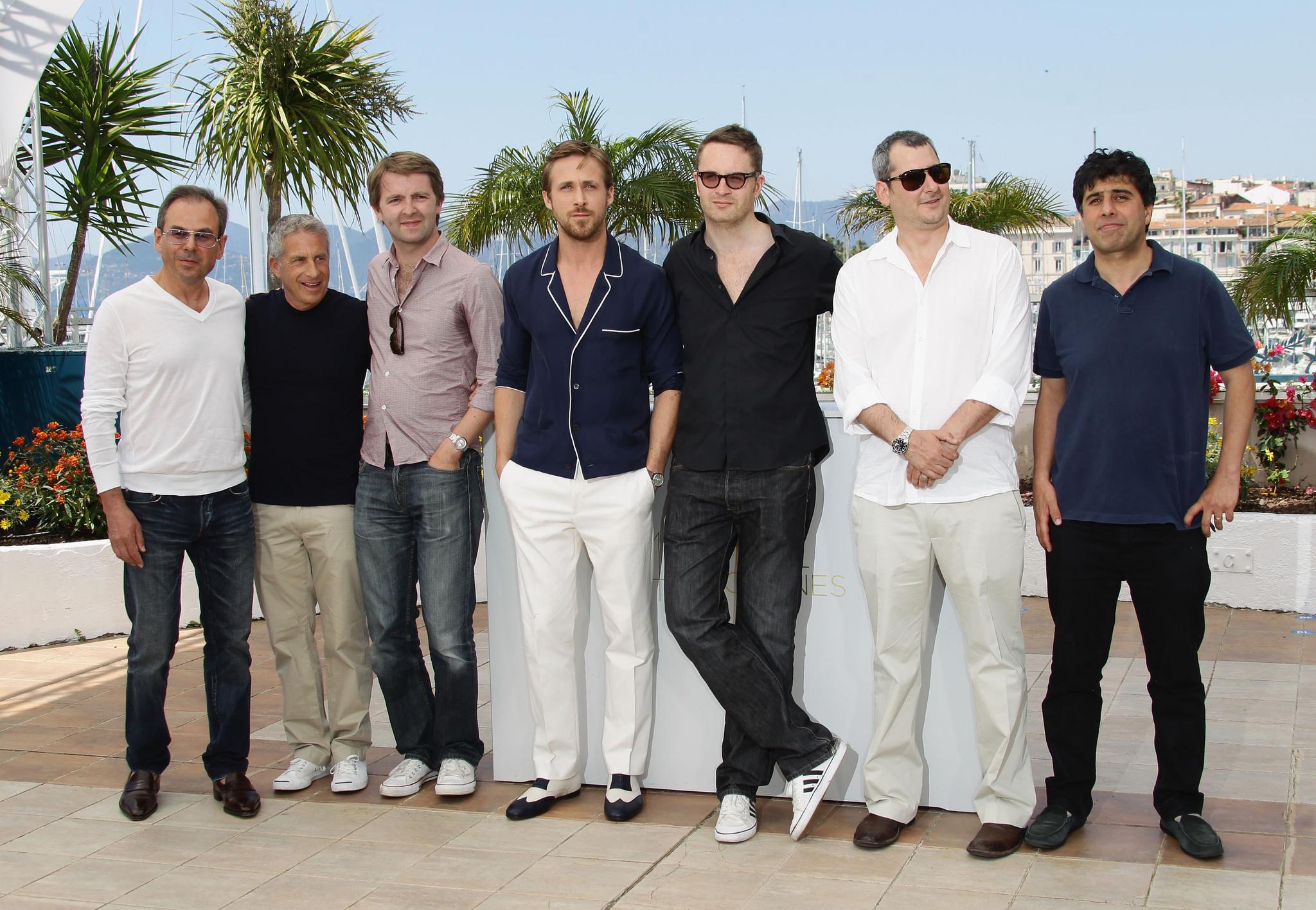 Hossein Amini, Ryan Gosling, Marc Platt, Nicolas Winding Refn, Adam Sigel, Michel Litvak, and Matthew Newman at an event for Drive (2011)