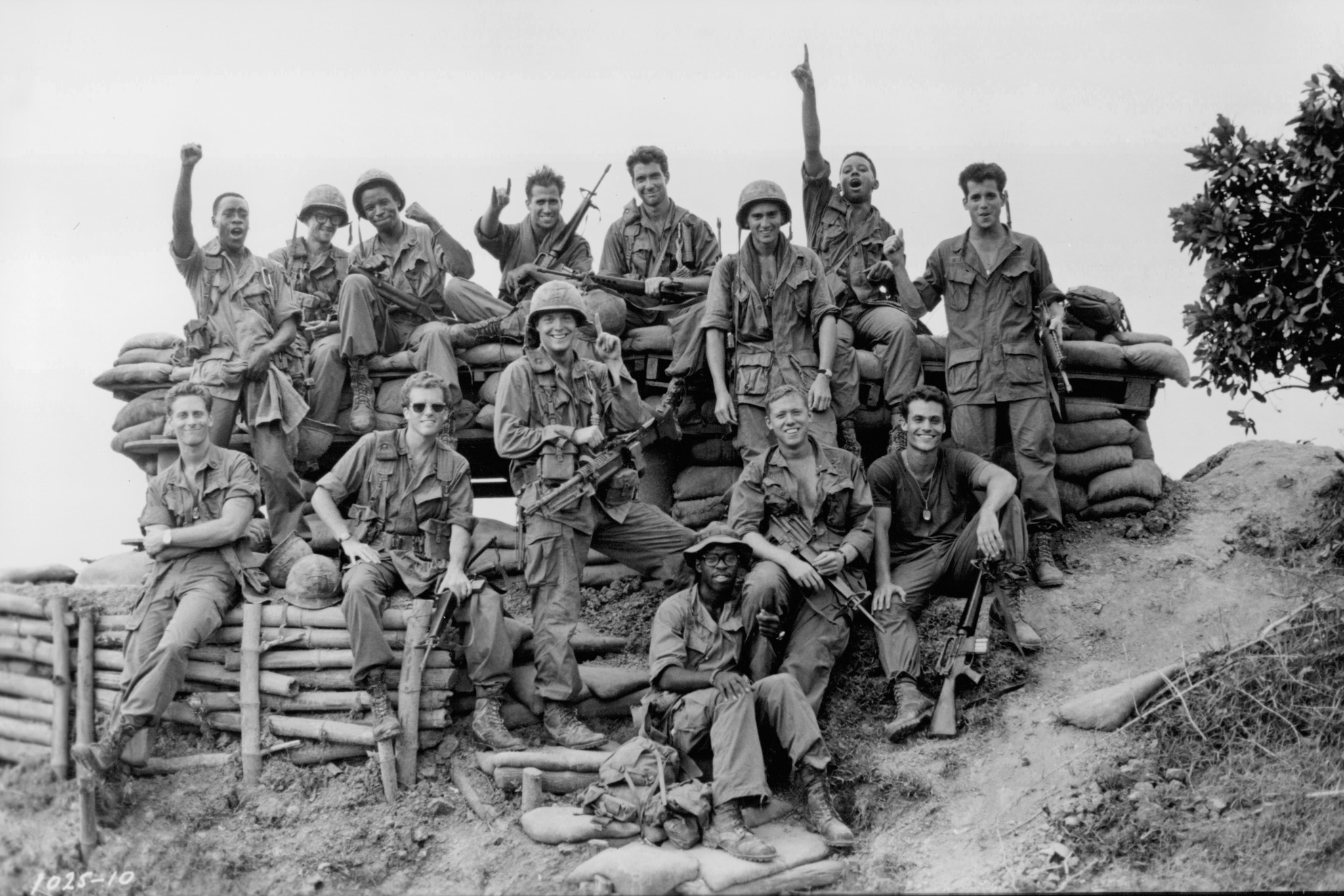 Don Cheadle, Dylan McDermott, Steven Weber, Courtney B. Vance, Anthony Barrile, Michael Boatman, Michael Dolan, Don James, Michael A. Nickles, Harry O'Reilly, Daniel O'Shea, Tommy Swerdlow, Tegan West, and Tim Quill in Hamburger Hill (1987)
