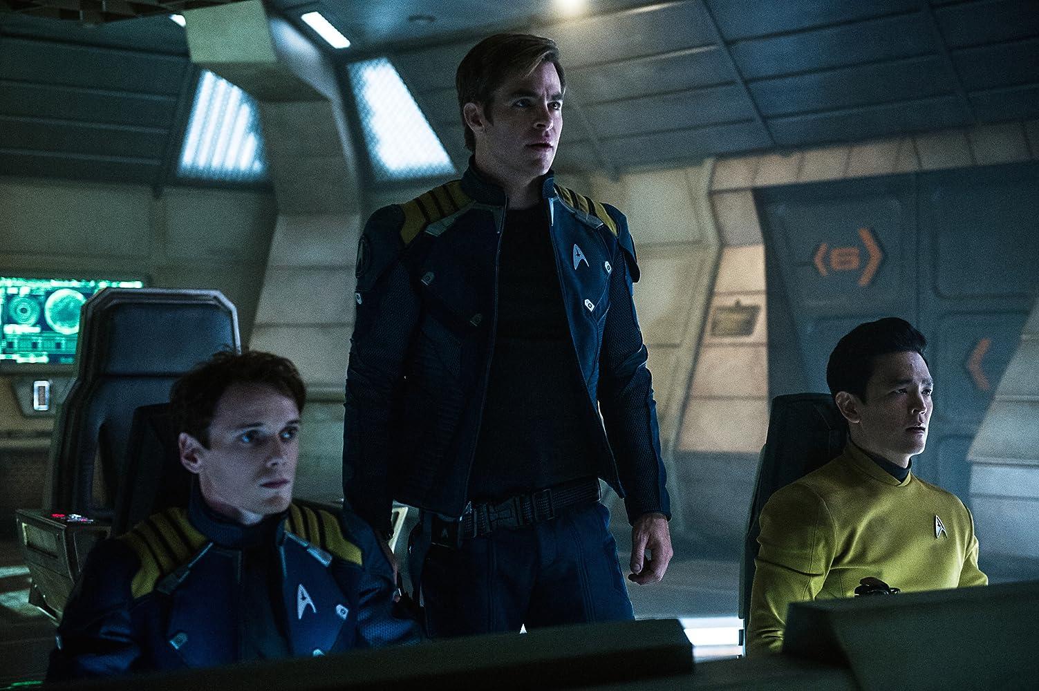 John Cho, Anton Yelchin, and Chris Pine in Star Trek: Beyond (2016)