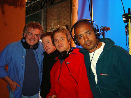 The guys at Fot.  Budapest, Hungary April 2002. David Winning, Mac Ruth, Rupert Porter and Frazer Churchill on the bluescreen stage.