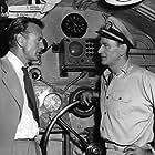 "Gary Cooper visiting John Wayne on the set of ""Operation Pacific,"" Warner Bros. 1950."