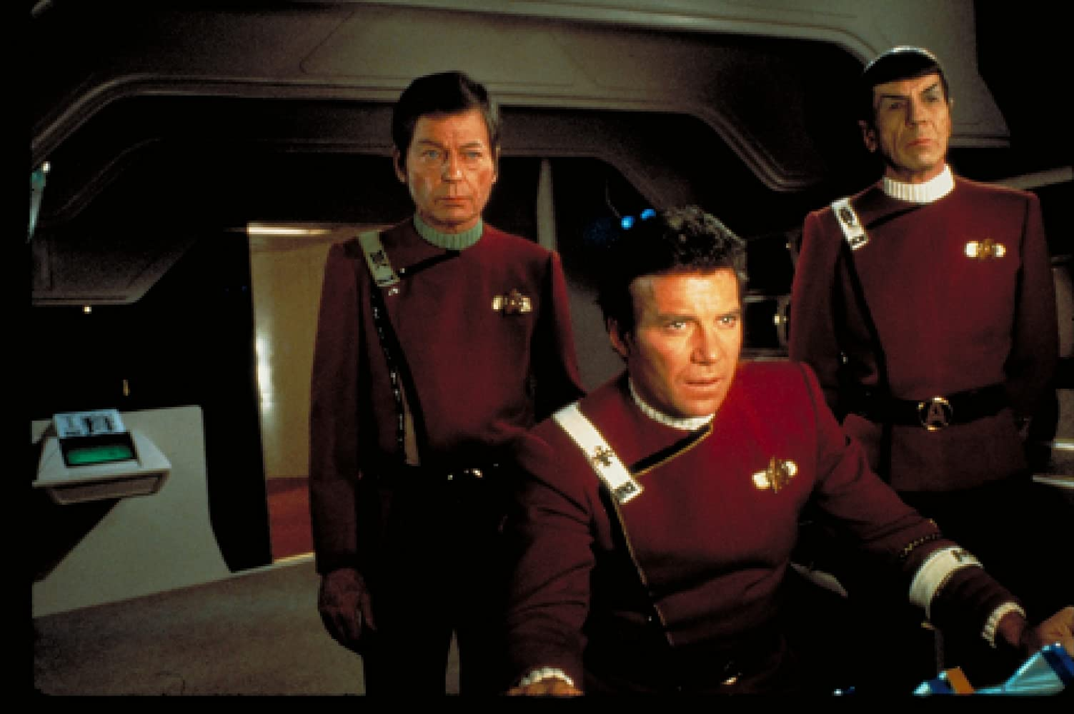 Leonard Nimoy, William Shatner, and DeForest Kelley in Star Trek II: The Wrath of Khan (1982)