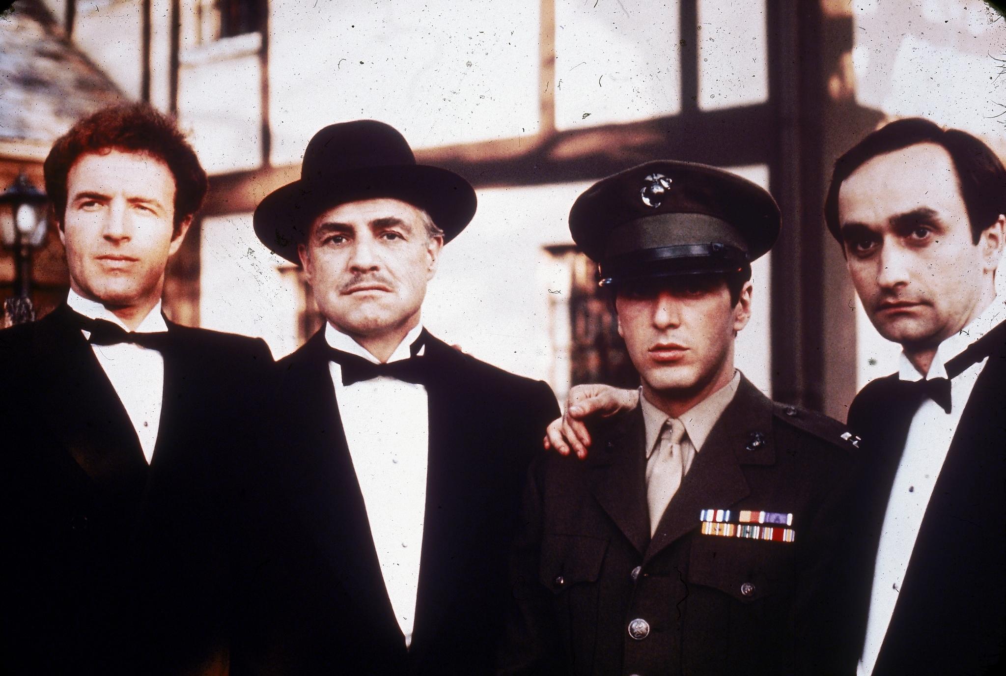 Marlon Brando, Al Pacino, James Caan, and John Cazale in The Godfather (1972)