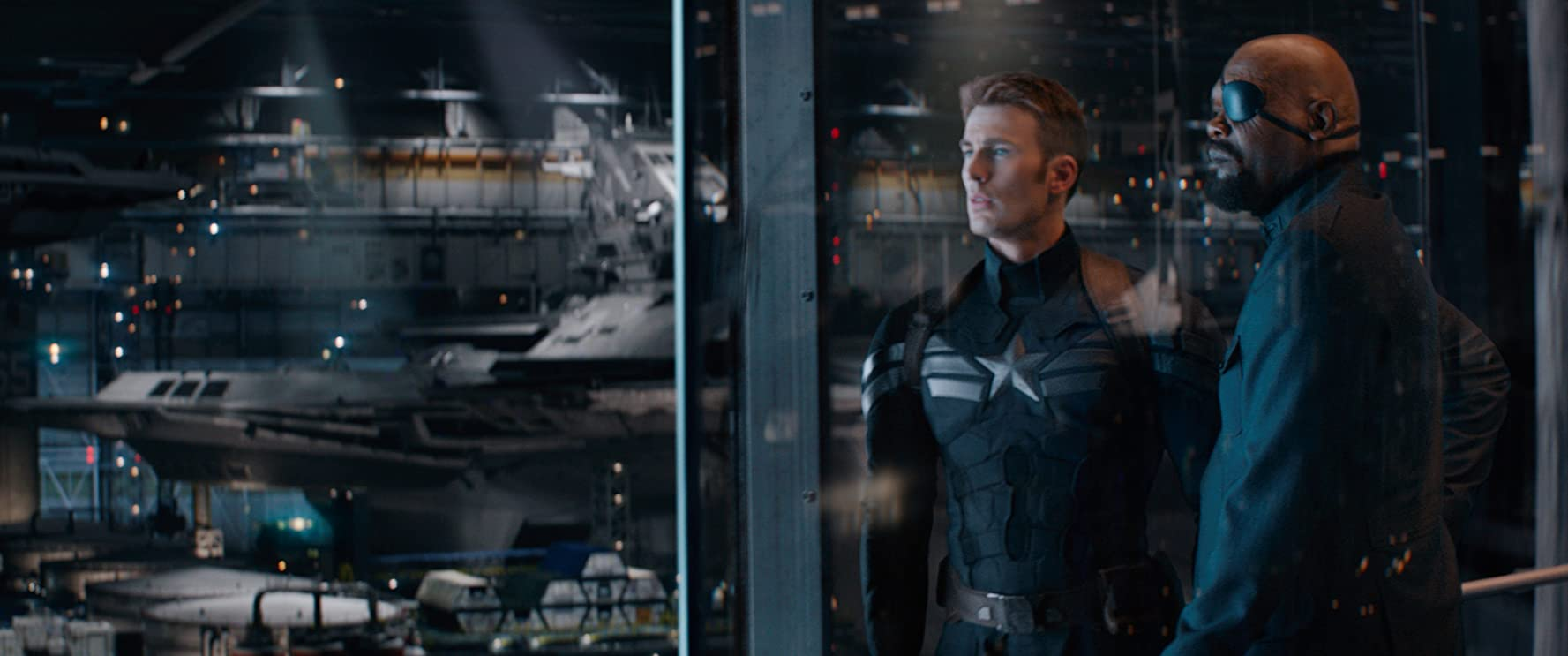 Samuel L. Jackson and Chris Evans in Captain America: The Winter Soldier (2014)