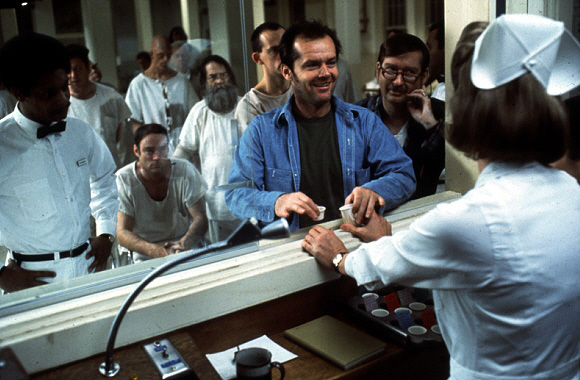 Jack Nicholson, Christopher Lloyd, Louise Fletcher, Michael Berryman, Nathan George, Ted Markland, William Redfield, and Delos V. Smith Jr. in One Flew Over the Cuckoo's Nest (1975)