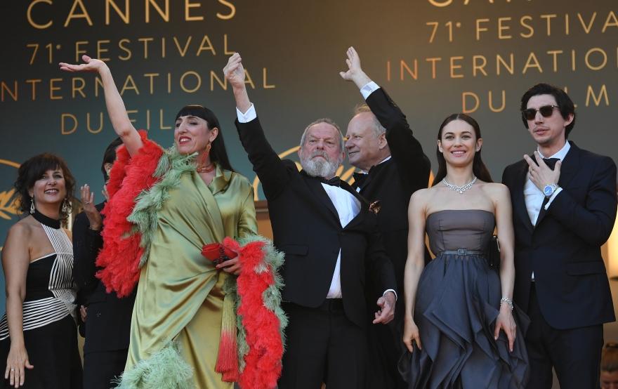 Terry Gilliam, Stellan Skarsgård, Olga Kurylenko, Adam Driver, and Joana Ribeiro at an event for The Man Who Killed Don Quixote (2018)