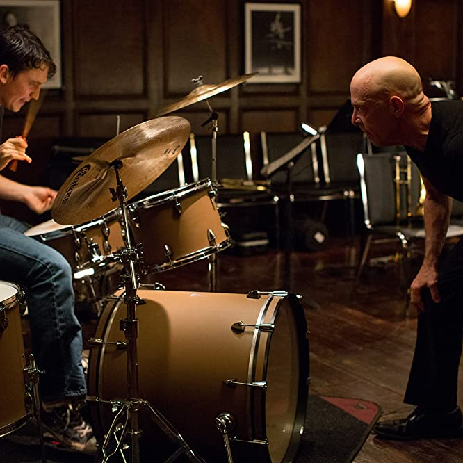 J.K. Simmons and Miles Teller in Whiplash (2014)