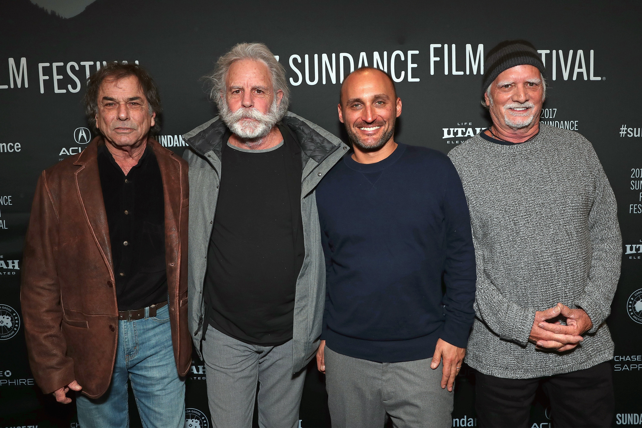 Amir Bar-Lev, Mickey Hart, Bill Kreutzmann, and Bob Weir at an event for Long Strange Trip (2017)