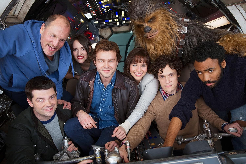 Woody Harrelson, Phil Lord, Christopher Miller, Donald Glover, Alden Ehrenreich, Phoebe Waller-Bridge, Emilia Clarke, and Joonas Suotamo in Solo: A Star Wars Story (2018)