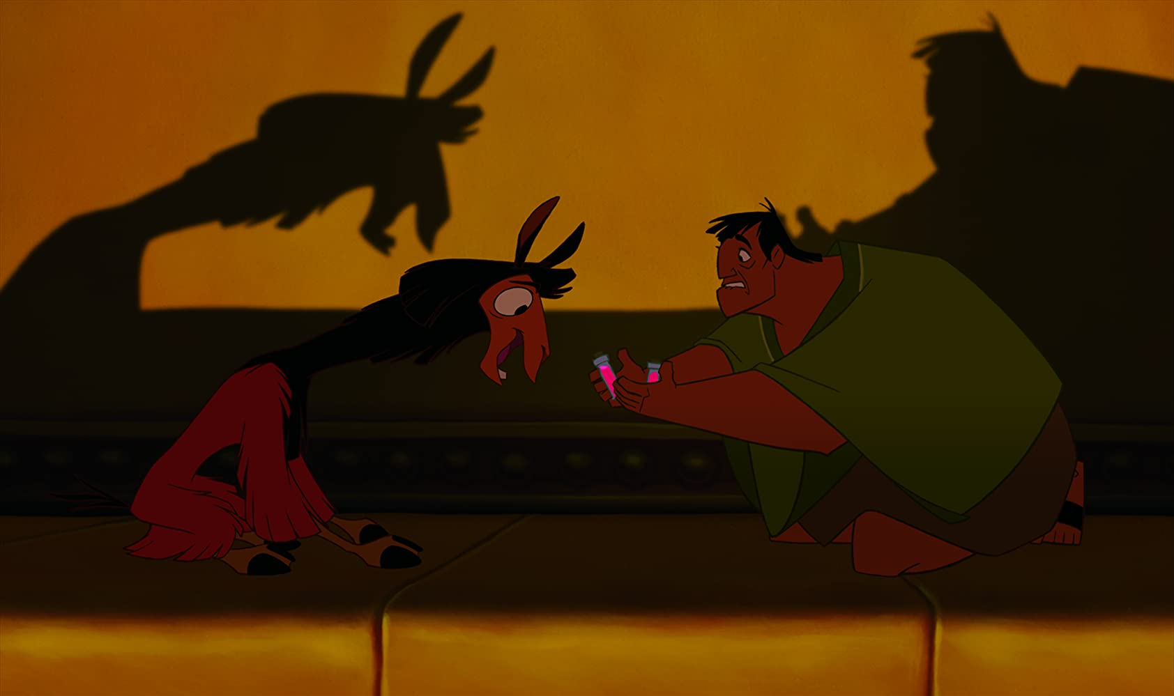 John Goodman and David Spade in Disney's The Emperor's New Groove (2000)