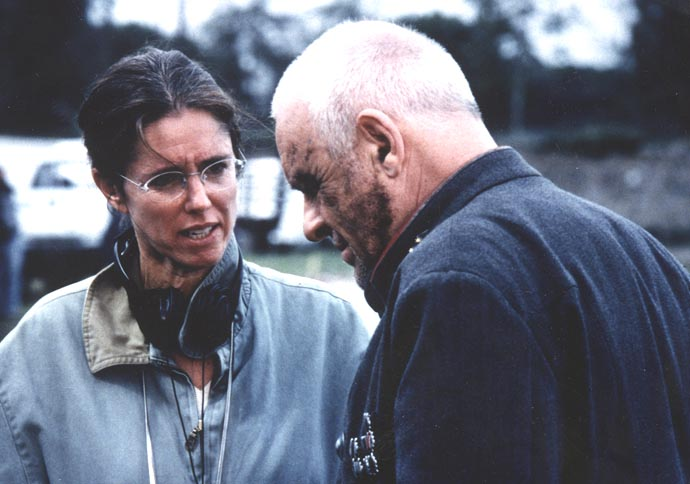 Director Julie Taymor and Anthony Hopkins