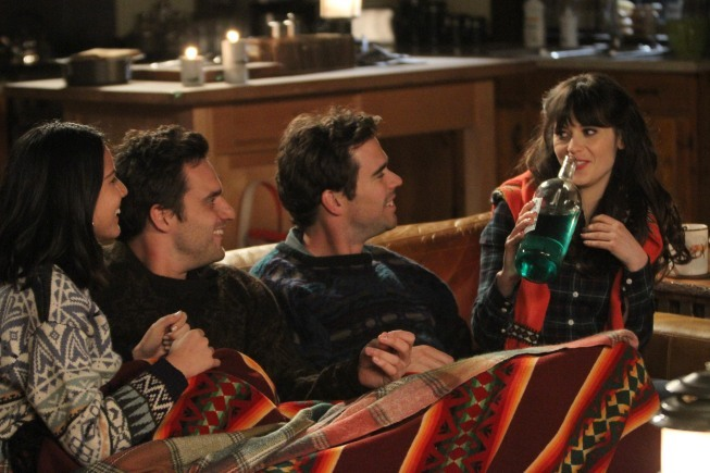 Zooey Deschanel, David Walton, Olivia Munn, and Jake Johnson in New Girl (2011)