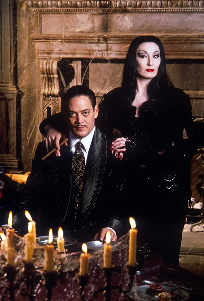 Raul Julia and Anjelica Huston in The Addams Family 1991