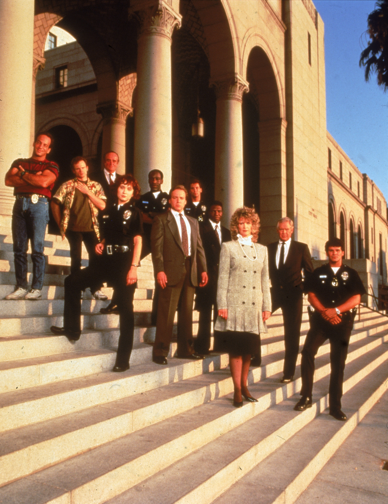 Ronny Cox, James McDaniel, Anne Bobby, Barbara Bosson, David Gianopoulos, Larry Joshua, Ron McLarty, Mick Murray, and Peter Onorati in Cop Rock (1990)