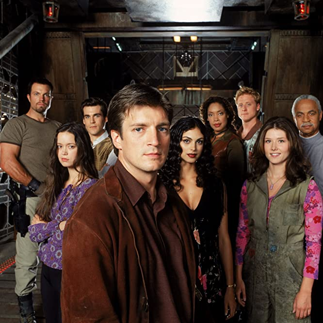Adam Baldwin, Nathan Fillion, Ron Glass, Sean Maher, Jewel Staite, Gina Torres, Alan Tudyk, Morena Baccarin, and Summer Glau in Firefly (2002)