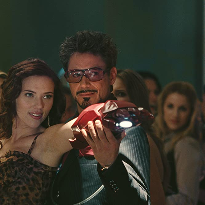 Robert Downey Jr. and Scarlett Johansson in Iron Man 2 (2010)