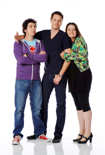 "Ryan Belleville, Paul Campbell and Lauren Ash - promo shot for ""Almost Heroes"""
