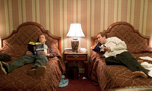 Twin-brothers Donald, right, and Charlie Kaufman (both played by Nicolas Cage) are both trying to write a new screenplay.