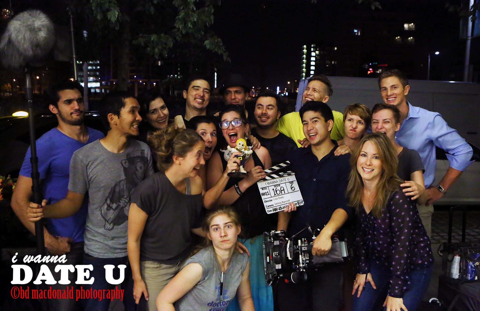 "Director Lisa Ovies with cast and crew of ""I Wanna Date U"" Aug 2014"