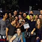 """Director Lisa Ovies with cast and crew of """"I Wanna Date U"""" Aug 2014"""