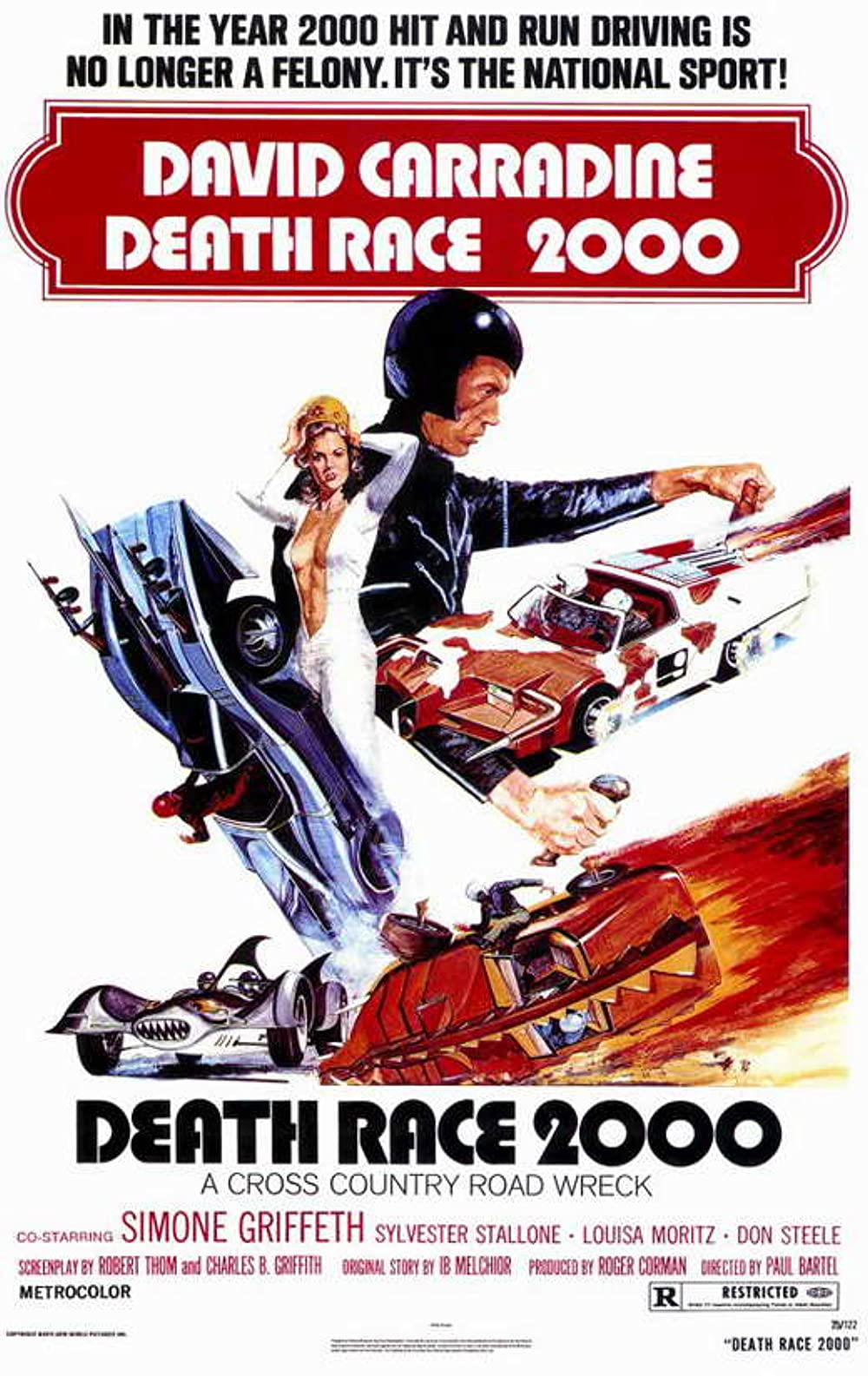 Death Race 2000: Directed by Paul Bartel. With David Carradine, Simone Griffeth, Sylvester Stallone, Mary Woronov. In a dystopian future, a cross country automobile race requires contestants to run down innocent pedestrians to gain points that are...
