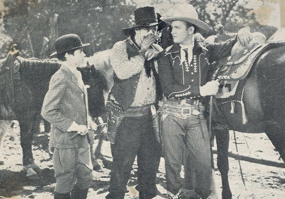 Gene Autry, Smiley Burnette, Ronald Sinclair, and Champion in Boots and Saddles (1937)