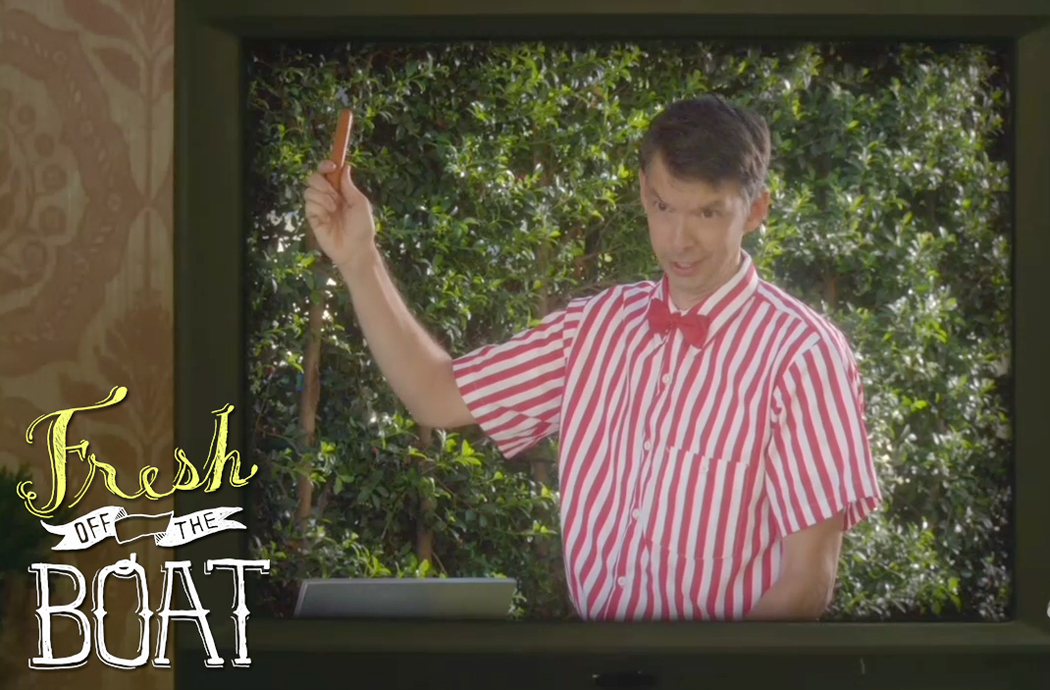 Todd Aaron Brotze as a magical Hot Dog Vendor in Fresh Off the Boat