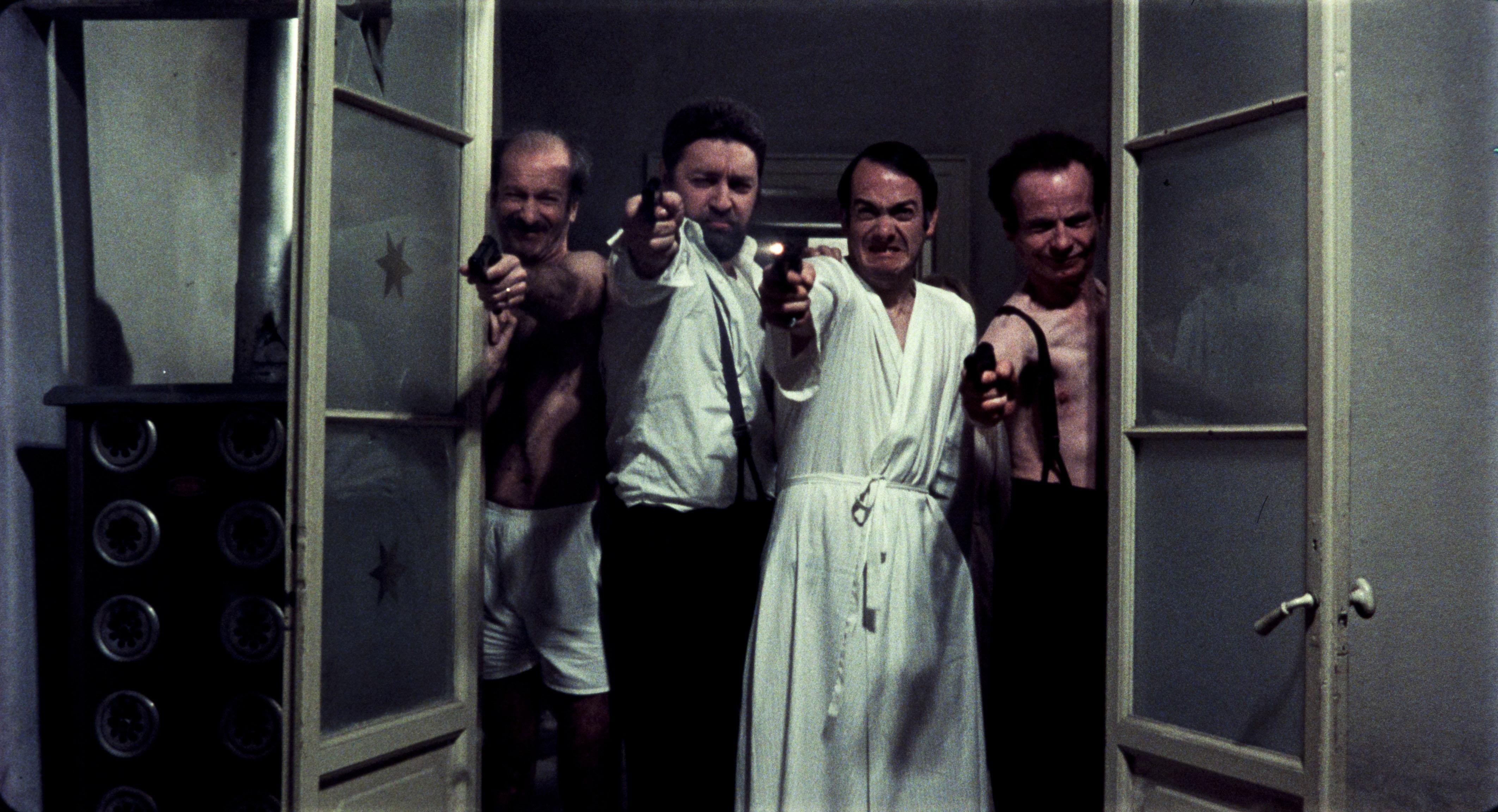 Paolo Bonacelli, Giorgio Cataldi, Uberto Paolo Quintavalle, and Aldo Valletti in Salò o le 120 giornate di Sodoma (1975)