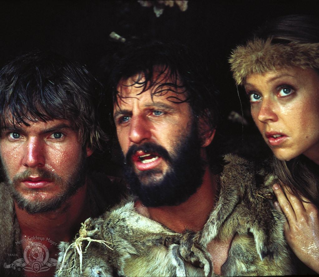 Dennis Quaid, Shelley Long, and Ringo Starr in Caveman (1981)