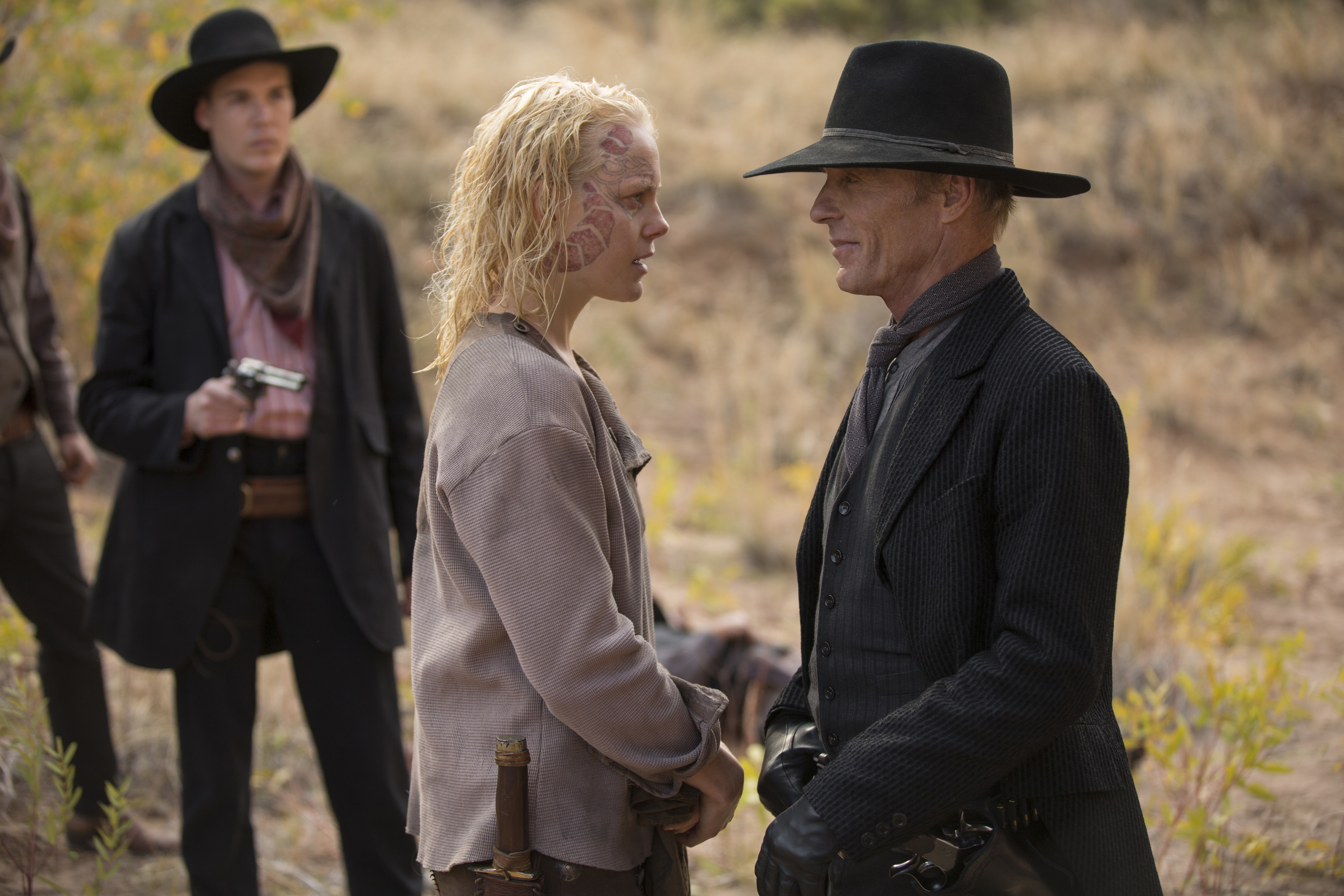 Ed Harris and Ingrid Bolsø Berdal in Westworld (2016)