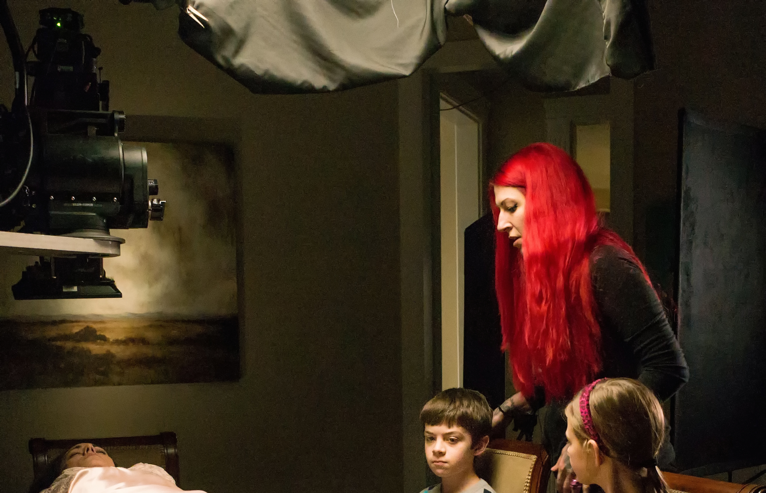 """Jovanka Vuckovic on the set of XX (""""The Box"""") with Natalie Brown, Peter DaCunha and Peyton Kennedy."""