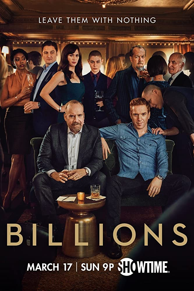 David Costabile, Jeffrey DeMunn, Paul Giamatti, Damian Lewis, Kelly AuCoin, Maggie Siff, Toby Leonard Moore, Asia Kate Dillon, and Condola Rashad in Billions (2016)