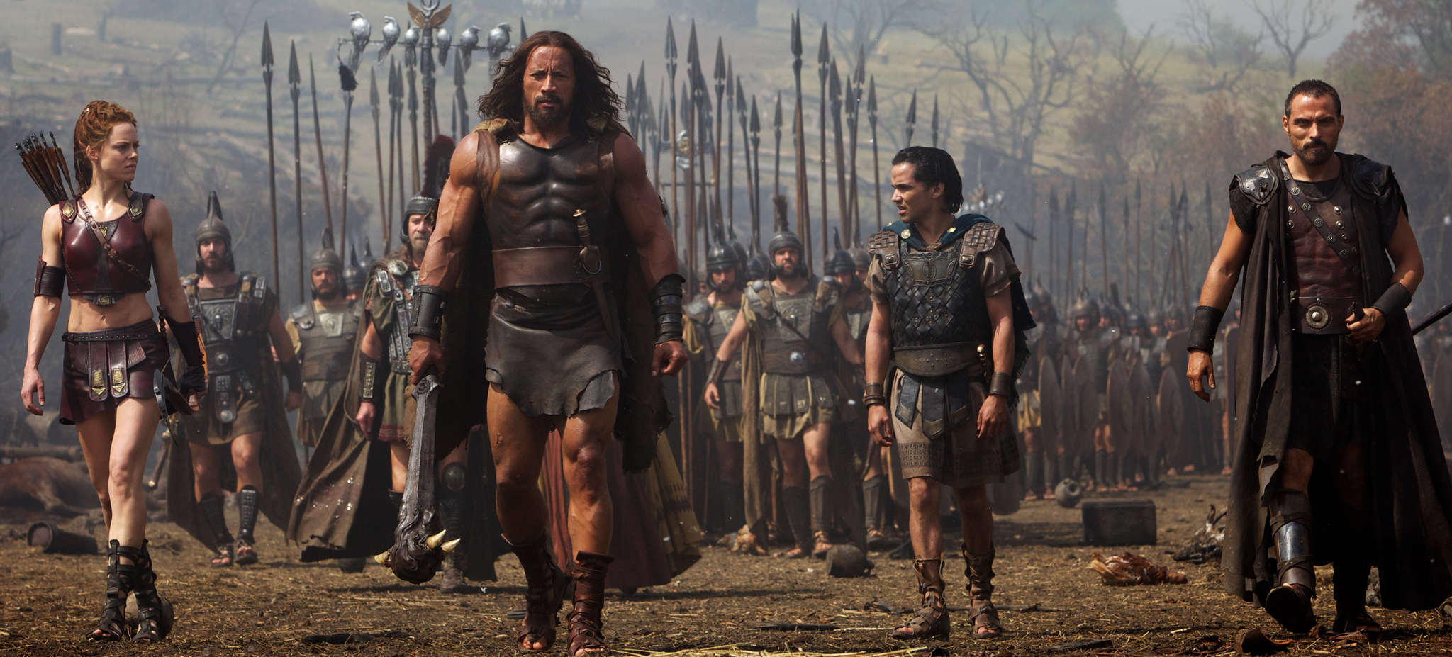 Rufus Sewell, Dwayne Johnson, Ingrid Bolsø Berdal, and Reece Ritchie in Hercules (2014)