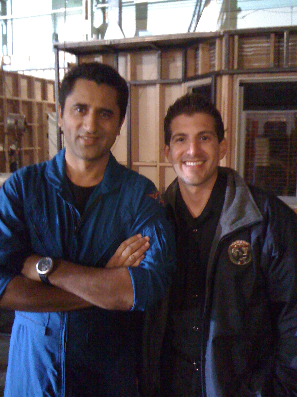 """Cliff Curtis """"Rabbit"""" and Raul Bustamante on the set of Trauma"""