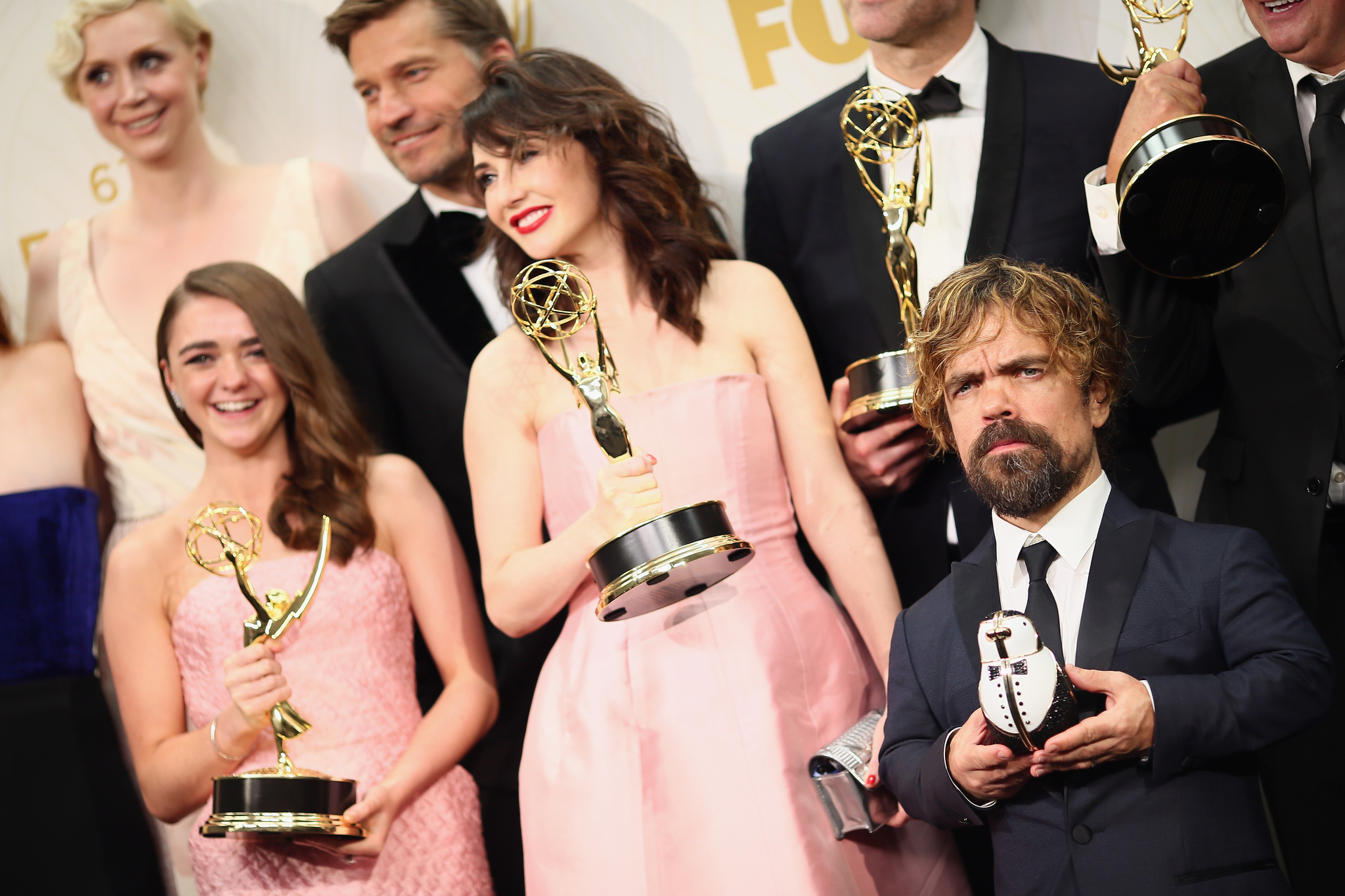 Nikolaj Coster-Waldau, Peter Dinklage, Carice van Houten, Maisie Williams, and Gwendoline Christie at an event for The 67th Primetime Emmy Awards (2015)