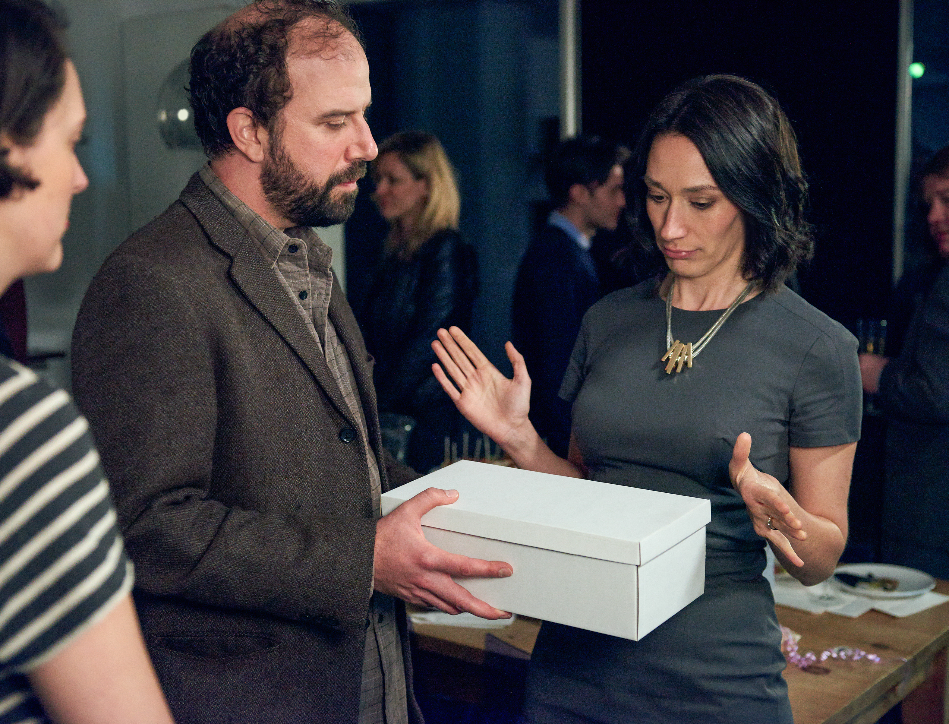 Brett Gelman, Phoebe Waller-Bridge, and Sian Clifford in Fleabag (2016)