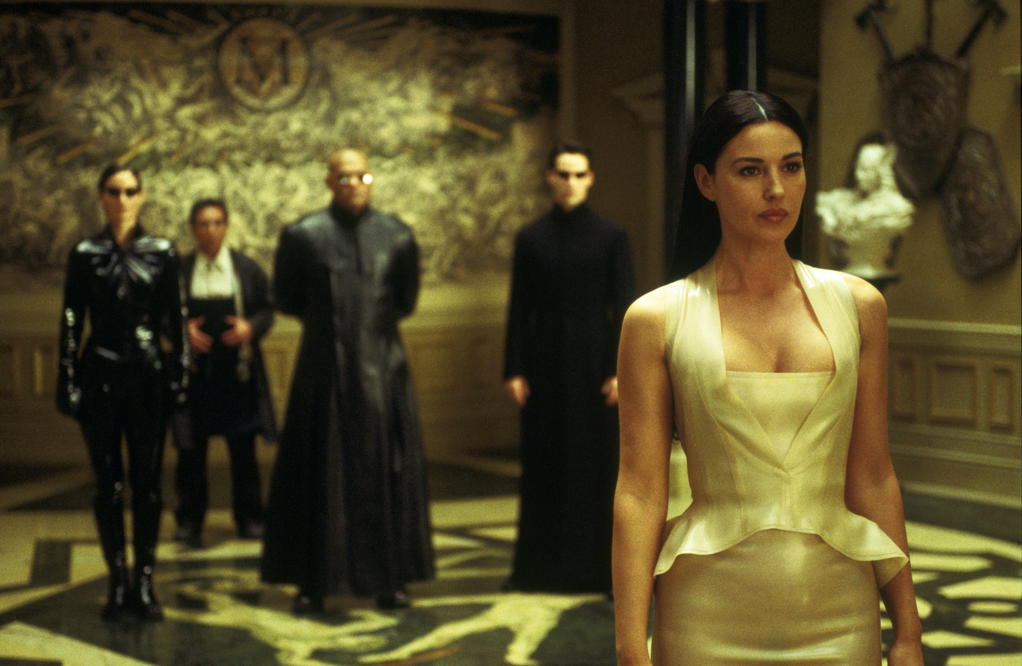 Keanu Reeves, Laurence Fishburne, Monica Bellucci, Carrie-Anne Moss, and Randall Duk Kim in The Matrix Reloaded (2003)