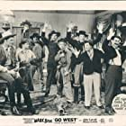 Groucho Marx, Robert Barrat, John Carroll, Walter Woolf King, Diana Lewis, Mitchell Lewis, Chico Marx, and Harpo Marx in Go West (1940)