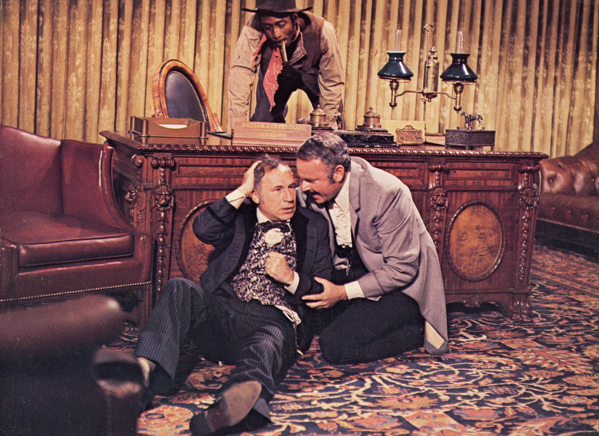 Mel Brooks, Cleavon Little, and Harvey Korman in Blazing Saddles (1974)