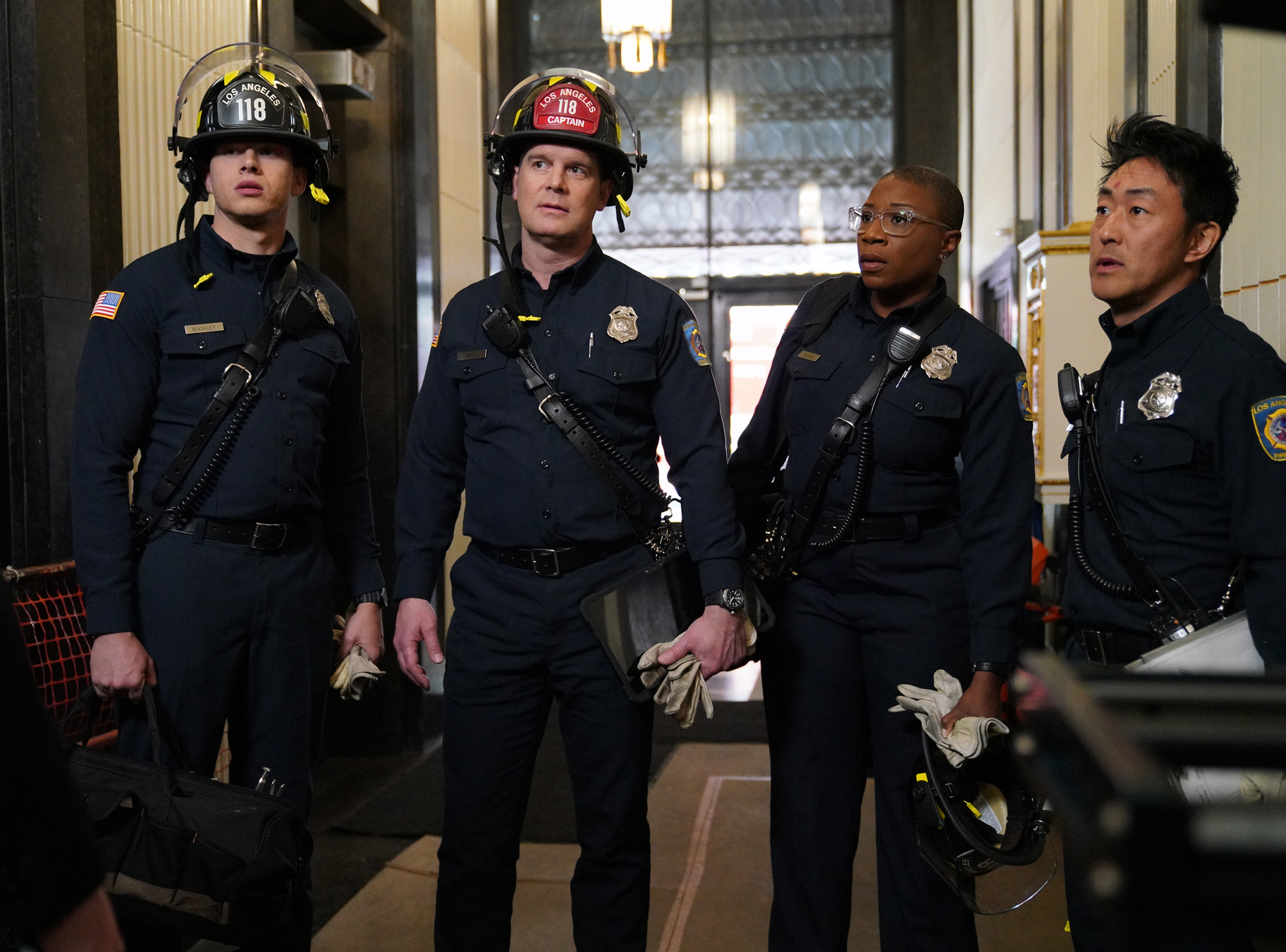 Kenneth Choi, Peter Krause, Aisha Hinds, and Oliver Stark in 9-1-1 (2018)