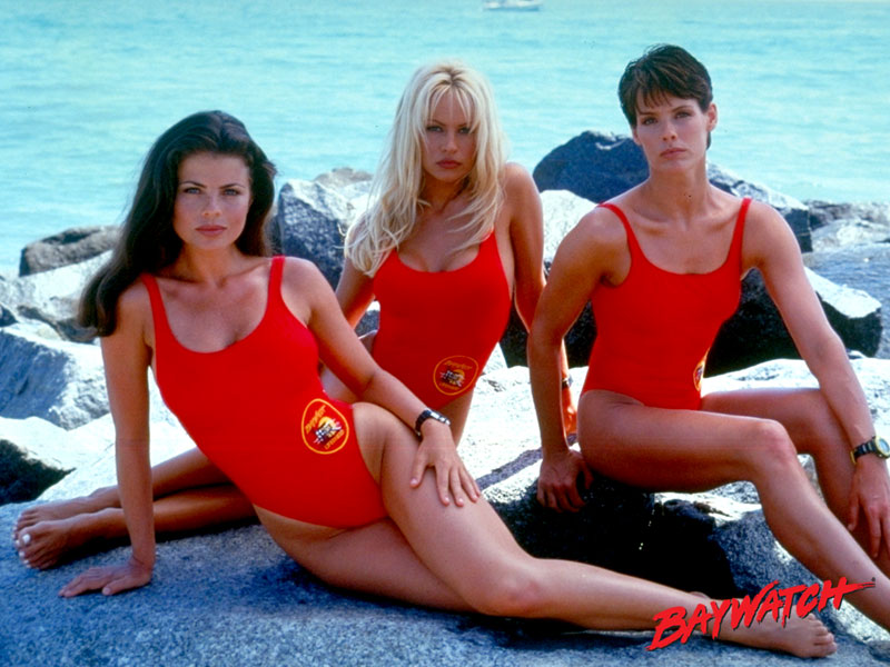 Details about  /1990/'s Baywatch TV Show Jasmine Bleeth /& Pam Anderson Adult T Shirt
