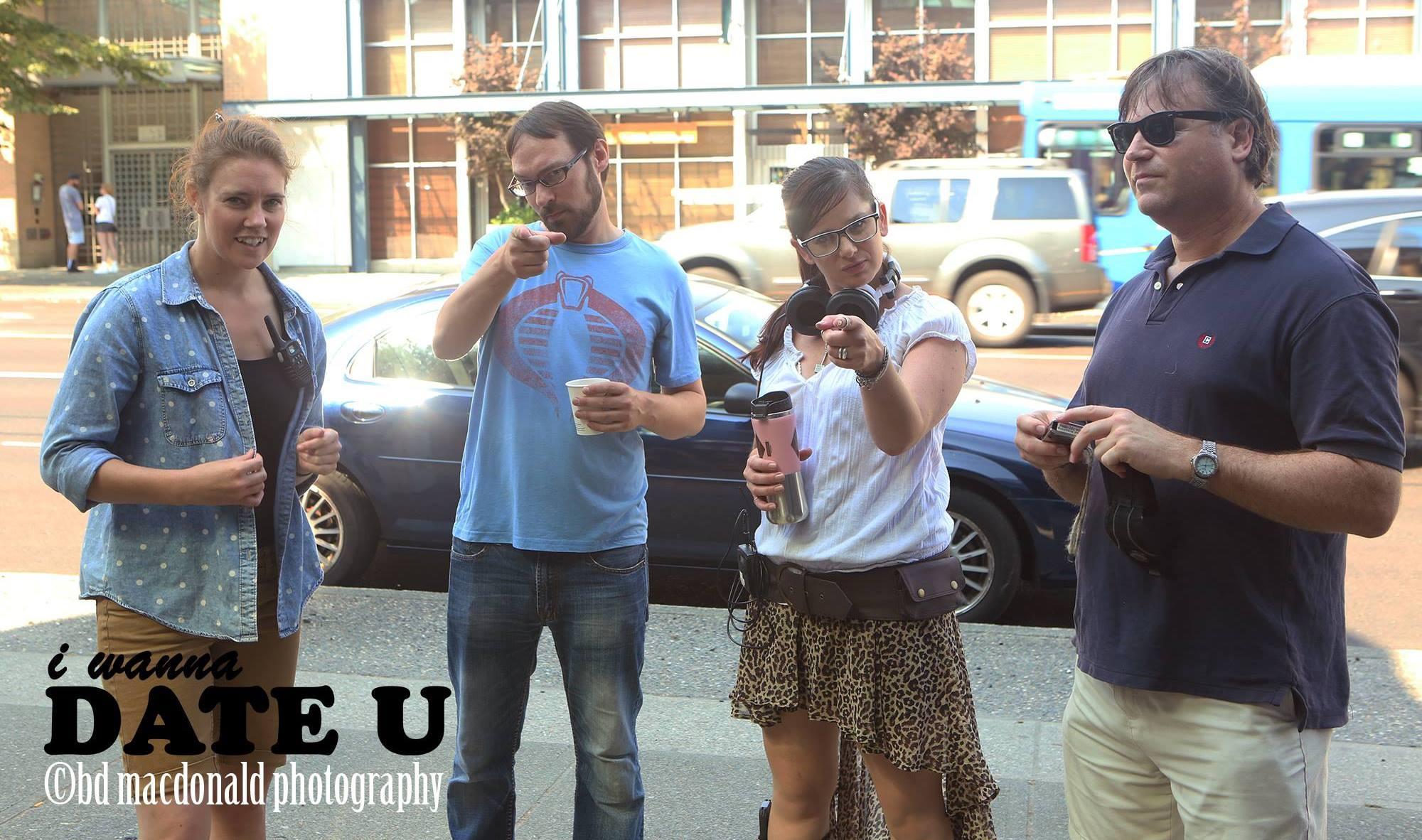 "Director Lisa Ovies with crew on set of ""I Wanna Date U"""